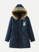 Lined Berber Fleece Plus Size Drawstring Fitted Hood Parka Coat