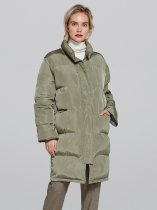 Solid Long Down Puffer Coat Jacket