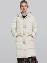 Buttons Decor Solid Color Thick Long Cotton Padded Coat