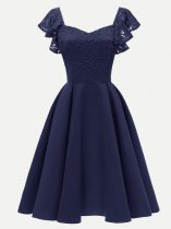 Solid Ruffle Lace Skater Dress