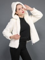 Solid Zipper Up Faux Fur Hooded Coat