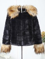 Black Fur Collar Trim Faux Fur Coat