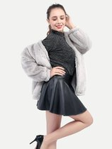 Grey Open Front Faux Fur Coat