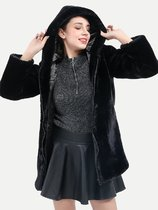 Black Zipper Up Faux Fur Hooded Coat