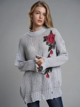 Grey Embroidery Flower Jumper Sweater