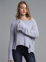 Grey Frayed Trim Loose Sweater