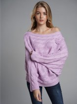 Boat Neck Batwing Sleeve Knit Sweater