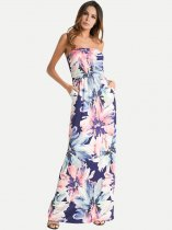 Womens Bohemian Bandeau Dress Floral Print Maxi Long Beach Dress