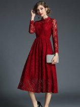 Elegant Solid Lace Long Evening Dress