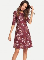 Womens Floral Print A Line Cheap Knee Length Dress With Sleeves