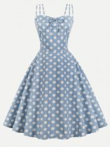 50s Polka Dots Bowknot Slip Swing Dress