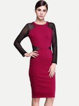 Womens Business Dress Red Work Office Pencil Mesh Long Sleeve Color Block Knee Length Midi Dress