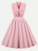 60s Rockabilly Ruffle Sleeveless Dress