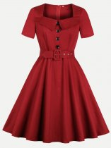 60s Square Neck Belted Swing Dress