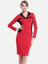 Color Block Long Sleeve Business Pencil Dress