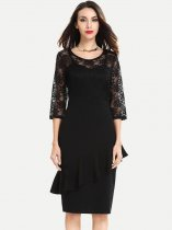 Womens Business Lace Dress Work Office Pencil Ruffles Long Sleeve Knee Length Midi Dress