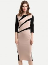 Color Block Work Midi Pencil Dress