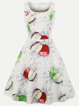 60s Apple Print Sleeveless Swing Dress