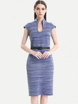 Womens Business Dress Work Office Pencil V Neck Belted Striped Knee Length Midi Dress With Sleeves