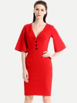 Solid Trumpet Sleeve Work Pencil Dress