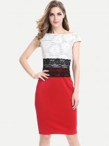 Womens Business Dress Work Office Pencil Color Block Lace Knee Length Midi Dress With Sleeves