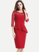 Solid Lace Trim Ruffle Business Pencil Dress