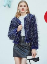 Blue Open Front Faux Fur Coat