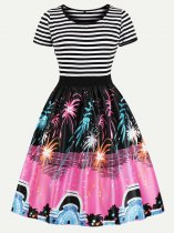 60s Striped Printed Swing Dress