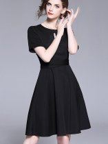 Retro Solid Color Slim Party Dress