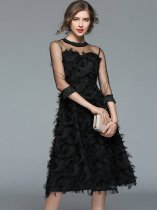 Tassels Feathers Mesh Patchwork Black Princess Party Dress