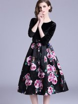 Velvet Patchwork Lacing Decor Printing Party Dress