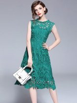 Green Lace Sleeveless Party Dress