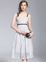 White Lace Sleeveless Slip Prom Dress