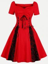 60s Rockabilly Red Lacing Lace Swing A Line Dress