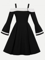 50s Black Off Shoulder Long Sleeve Slip Dress