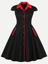 60s Style Black Swing A Line Dress With Sleeves