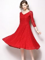 Solid Color V-neck Lace Party Dress