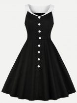 60s Black Sleeveless Swing Dress