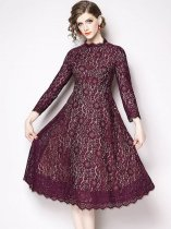 Solid Color Stand Collar Slim Lace Party Dress