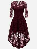 Vinfemass Elegant Irregular Hem Lace Party Skater Dress