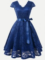 V-neck Lacing Decor Lace Party Skater Dress