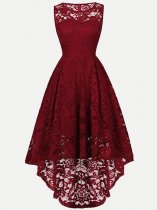 Sleeveless Irregular Hem Solid Lace Party Skater Dress