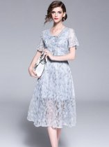 Embroidered Lace Party Dress