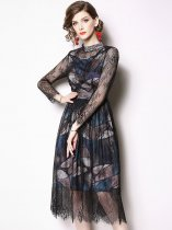 Black Long Sleeve Lace Party Dress