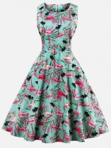 60s Rockabilly Flamingos Sleeveless Swing Dress