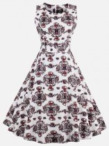 60s Retro Rockabilly Print Sleeveless Swing Dress