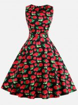 60s Rockabilly Strawberry Sleeveless Swing Dress