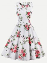60s Floral Print Sleeveless White Swing Dress