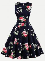 60s Floral Print Sleeveless Black Swing Dress