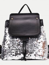 Vinfemass Soft Solid Color Sequins Backpack